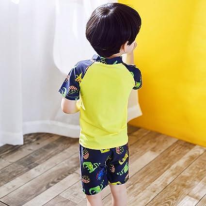 cf09f871d Niños Traje de baño Buceo Surf Manga Corta Camiseta + Swim Shorts + Gorra  de Ducha Protección Solar Set  Amazon.es  Ropa y accesorios