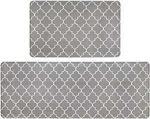 """HEBE Anti Fatigue Kitchen Rug Set 2 Piece Non Slip Cushioned Kitchen Floor Mat Waterproof Comfort Standing Kitchen Mat(18""""x27""""+18""""x48"""")"""