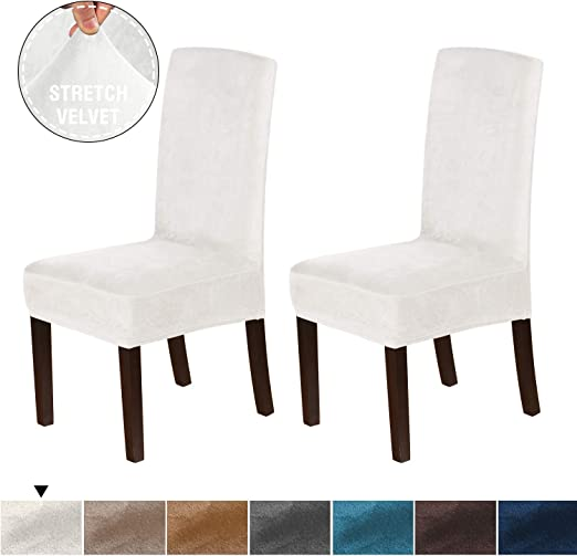 H.VERSAILTEX Velvet Plush Dining Room Chair Slipcovers Stretch Chair Covers  for Home Decor Washable Removable High Dining Chair Protector Cover for ...
