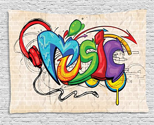stry, Illustration of Graffiti Style Lettering Headphones Hip Hop Theme on Beige Bricks, Wall Hanging for Bedroom Living Room Dorm, 80 W X 60 L Inches, Multicolor ()