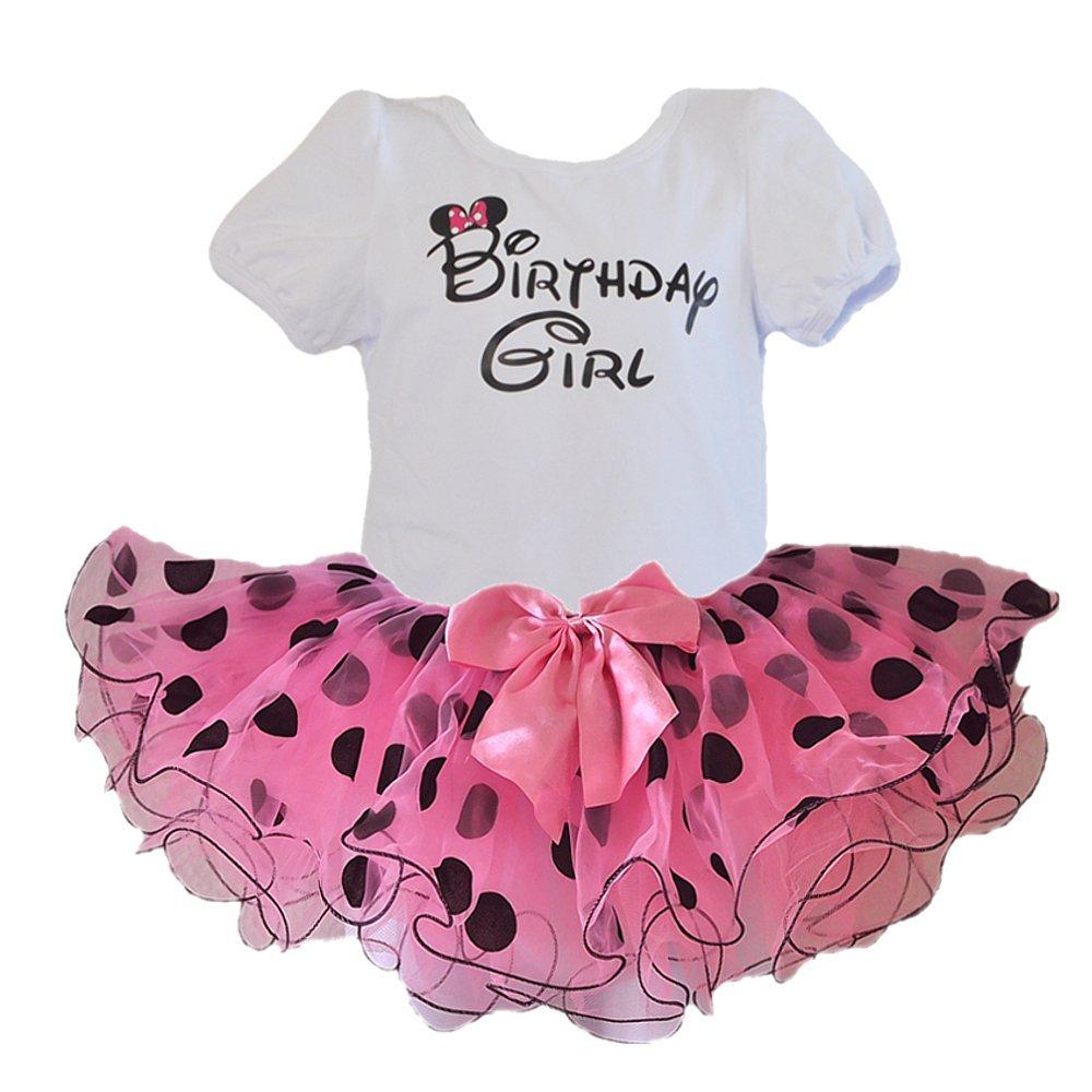 Birthday Girl T-Shirt with Polka Dot Tutu 2 pcs Set (Age 3, Pink/blk)