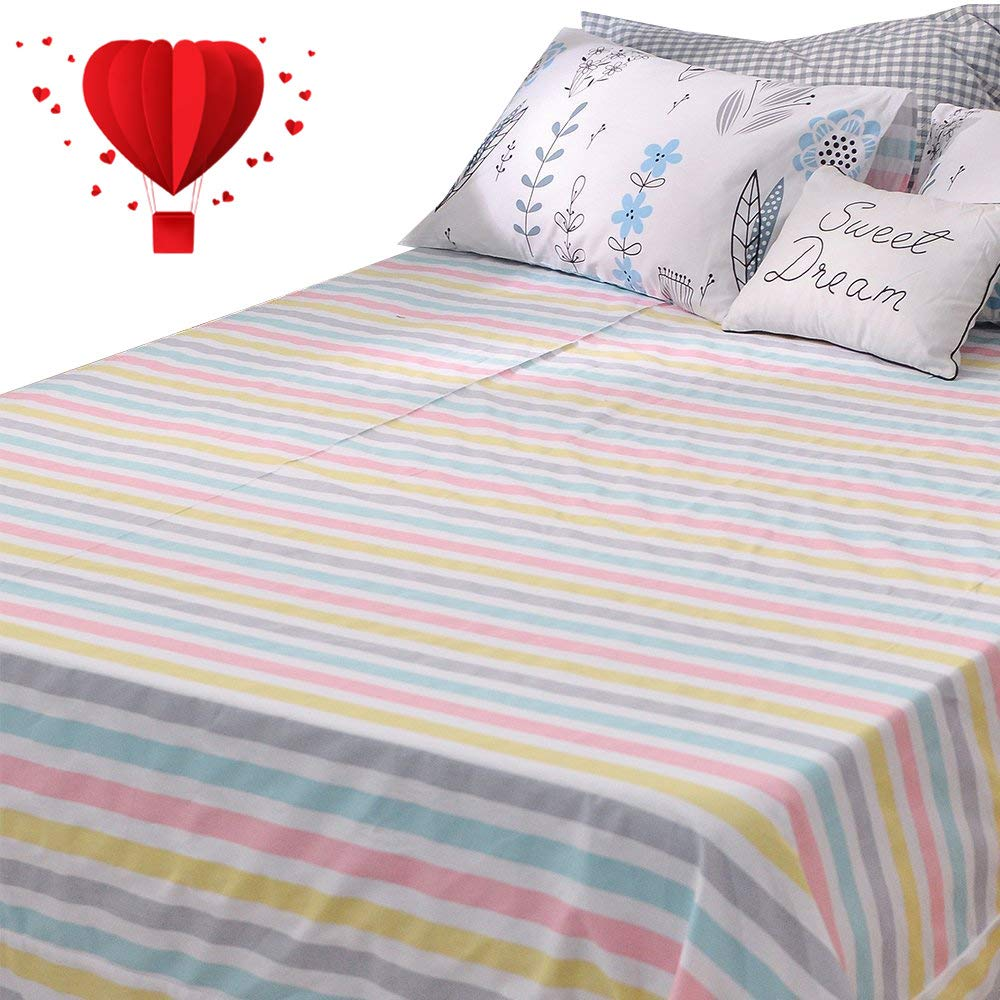 BuLuTu Deep Pocket Fitted Sheet Twin Only 100 Percent Cotton,Colorful Pastel Stripes Print Kids Girls Fitted Bottom Sheet Twin Multi-Colored,Breathable,Soft,Premium Single Bed Sheet(1 Piece)