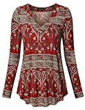Vinmatto Women's Long Sleeve V Neck Flowy Tunic Top(L,Multi Red)