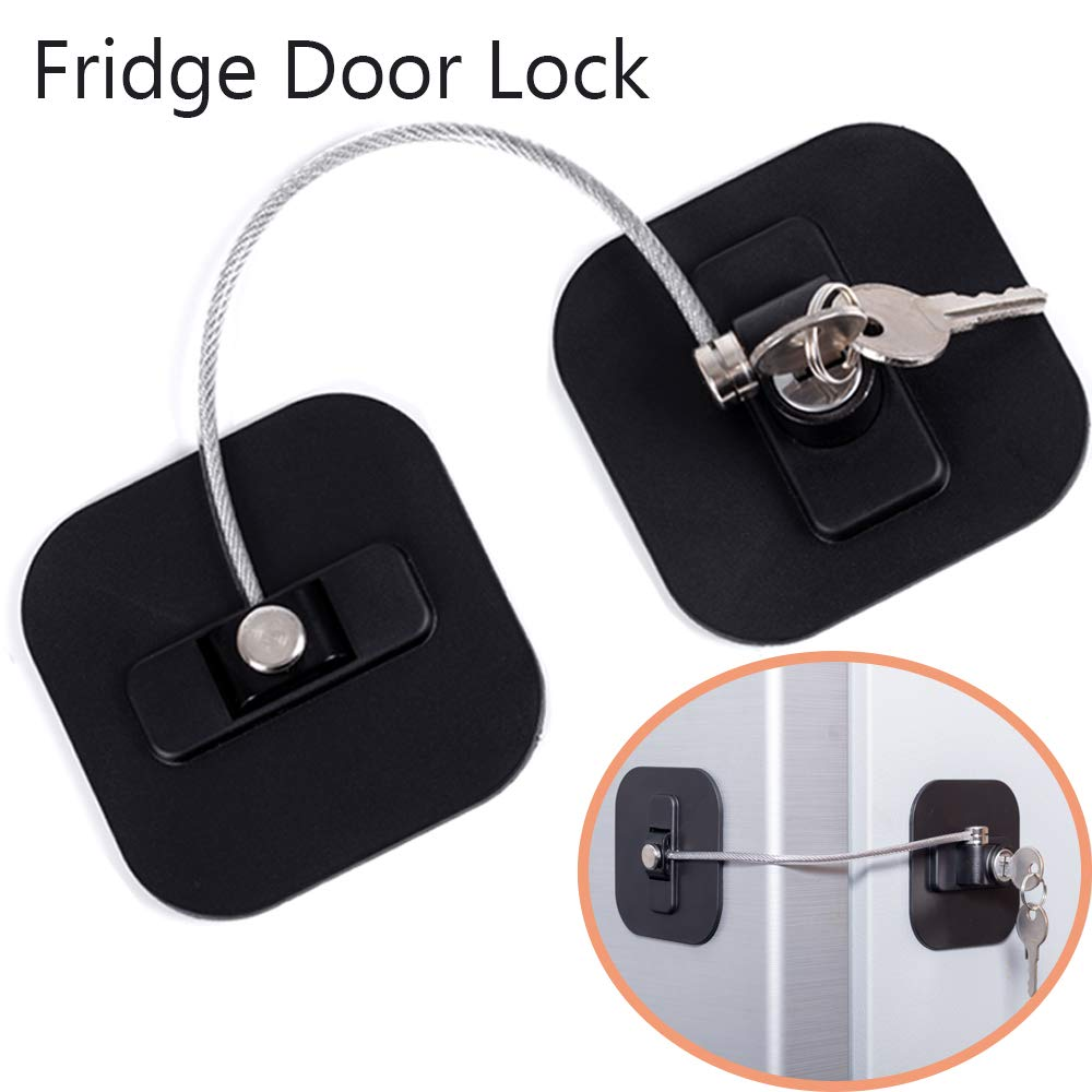Refrigerator Lock, Fridge Lock with Keys, Freezer Lock and Child Safety Cabinet Lock with Strong Adhesive (Fridge Lock-Black 1Pack)