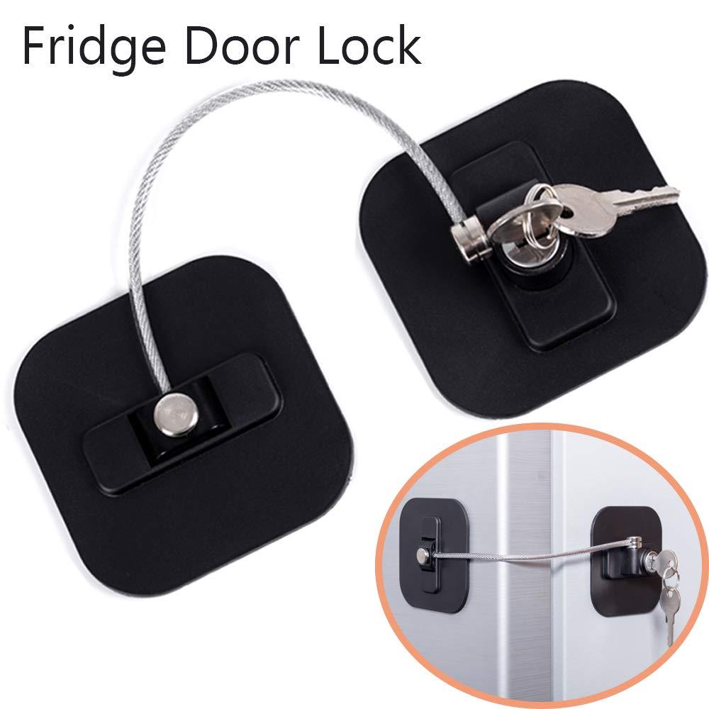 Refrigerator Lock, Fridge Lock with Keys, Freezer Lock and Child Safety Cabinet Lock with Strong Adhesive (Fridge Lock-Black 1Pack) by BAOWEIJD