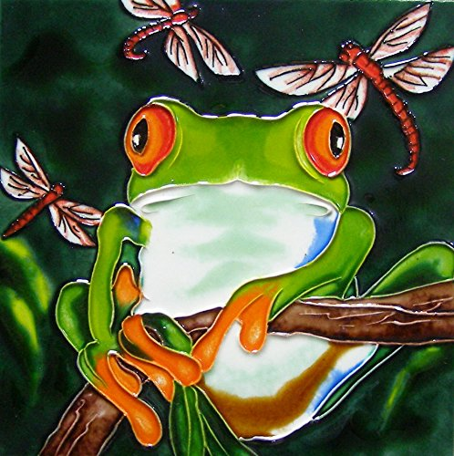 - Continental Art Center 8x8 Art Tile-Tree Frog and 3 Dragonflies