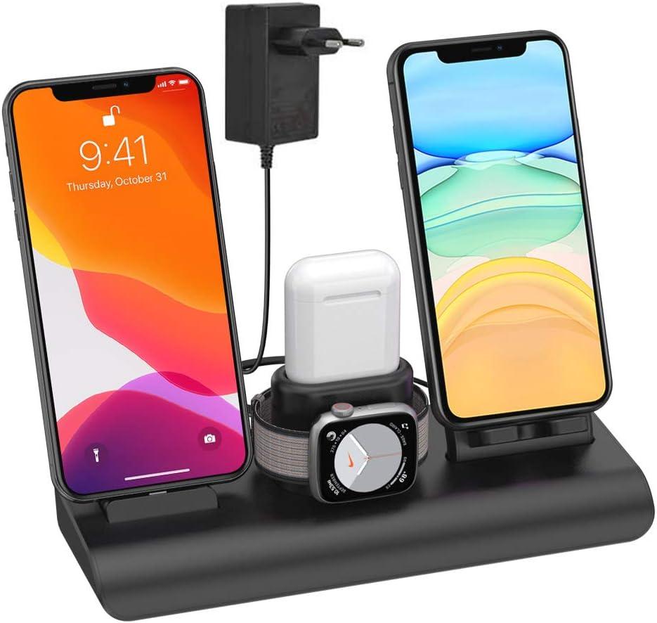 SIMPFUN Cargador inalámbrico, 4 en 1 Base de Carga Rápida para iPhone iWatch Airpods Soporte de Carga Viene con 3 USB 7.5W para iPhone 11/Pro MAX/XS/XR/X/8/Samsung S9/S8(Sin Cable de Carga iWatch)