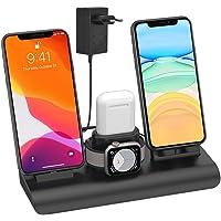 SIMPFUN Cargador inalámbrico, 4 en 1 Base de Carga Rápida para iPhone iWatch Airpods Soporte de Carga Viene con 3 USB 7…