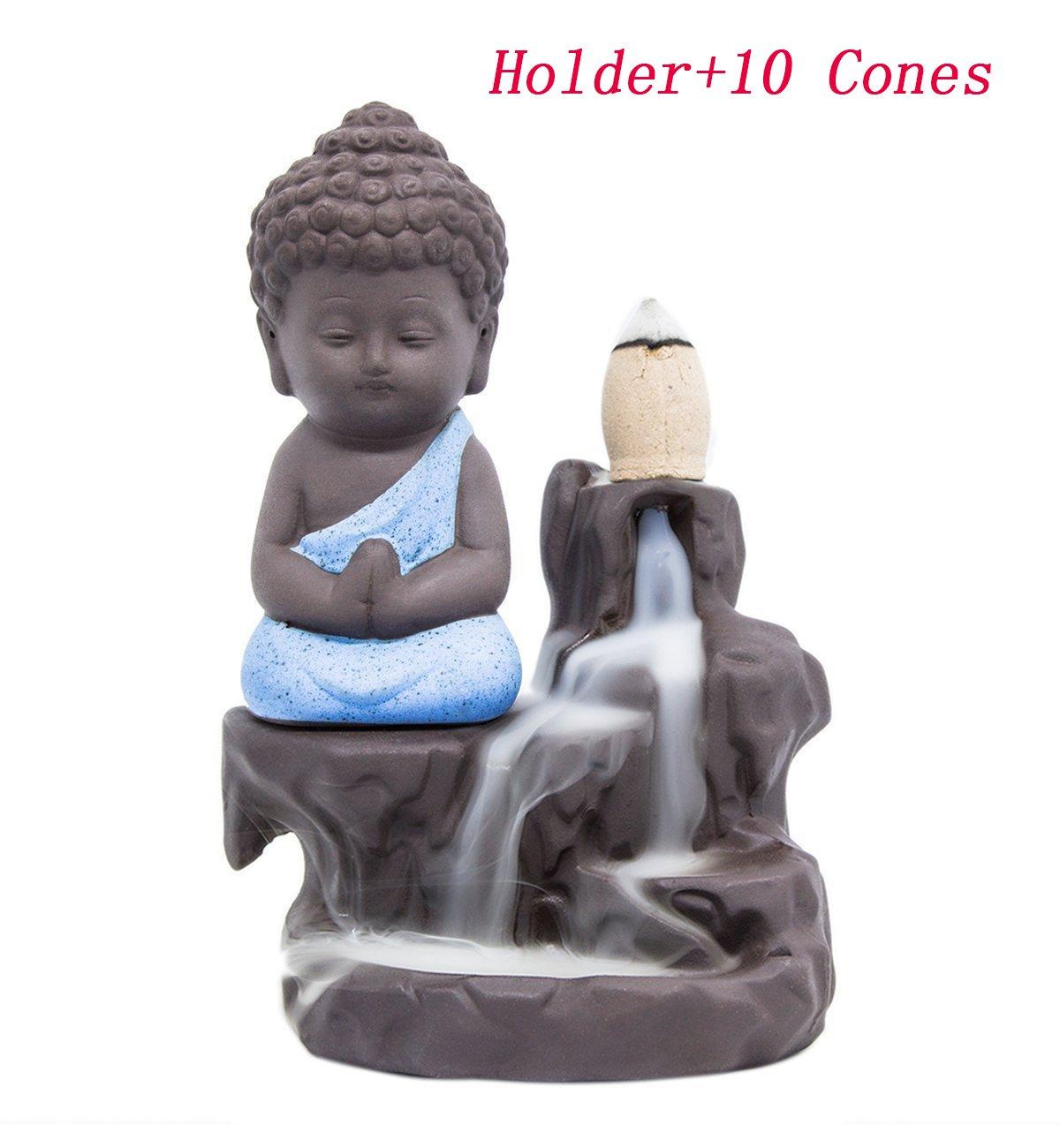オープニング 大放出セール Incense Burners Returnアロマセラピースティックホルダーセラミック磁器Monk Catcher Burners 10 ( 10 Varieties円錐とホルダー) ブルー ブルー ( B077D5K8TQ, プロキュアエース:1851a8b6 --- aemmontagens.com.br