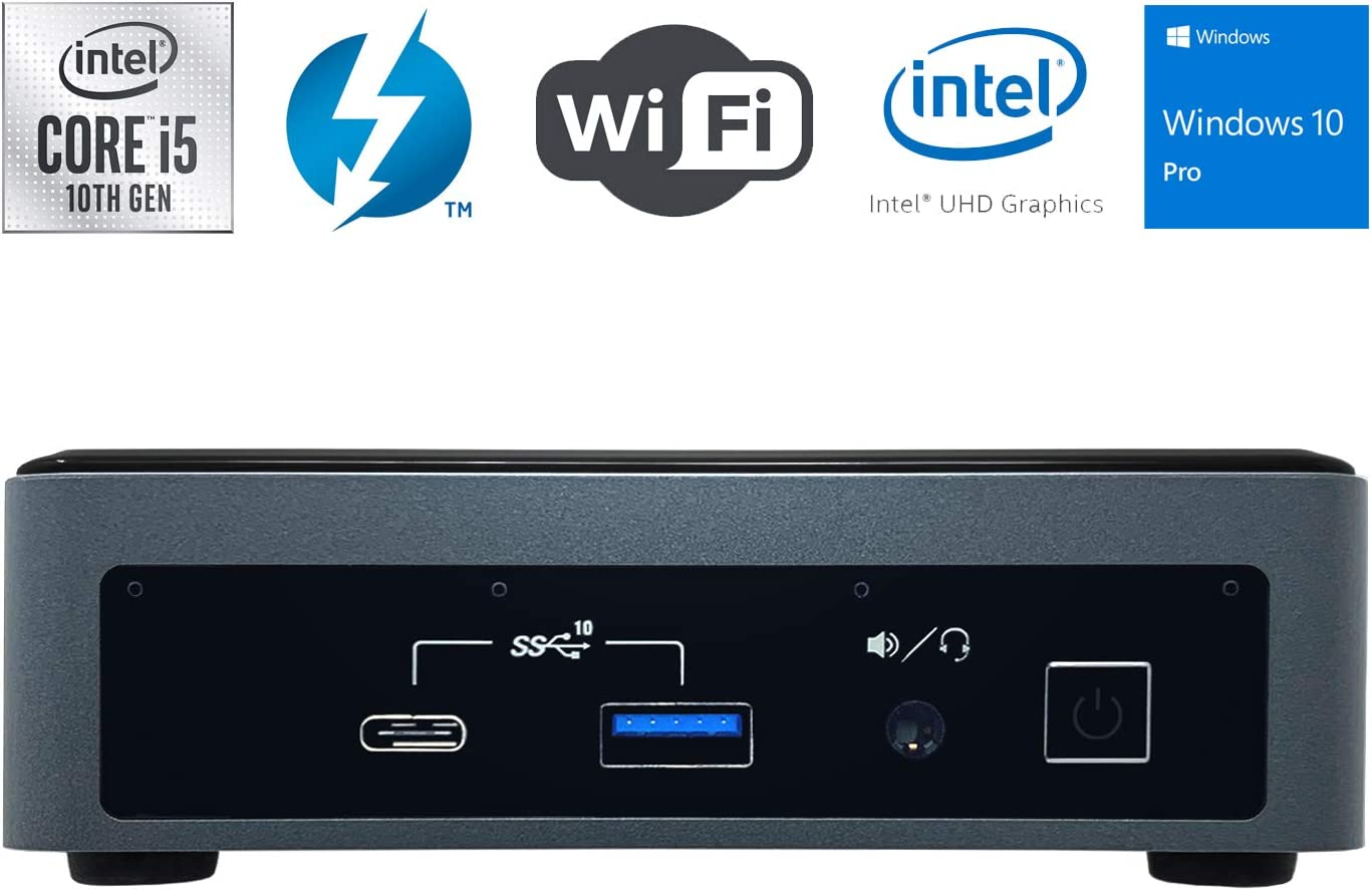 Intel NUC NUC10i5FNK Ultra Small Mini PC/HTPC - 10th Gen Intel Quad-Core i5-10210U up to 4.20 GHz CPU, 16GB DDR4 RAM, 1TB NVMe SSD, Wi-Fi + Bluetooth, Intel UHD Graphics, Windows 10 Professional