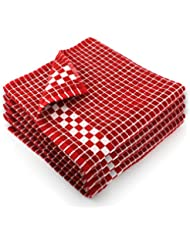 Fecido Classic Dark Kitchen Dish Towels with Hanging Loop - Heavy Duty Absorbent Dish Clothes - European Made 100% Cotton Tea Towels - Set of 4, Red