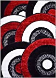 Cheap RugStylesOnline Royal Collection Black Red White Abstract Contemporary Design Shaggy Area Rug (6053) (3'3″ x7′ Runner)