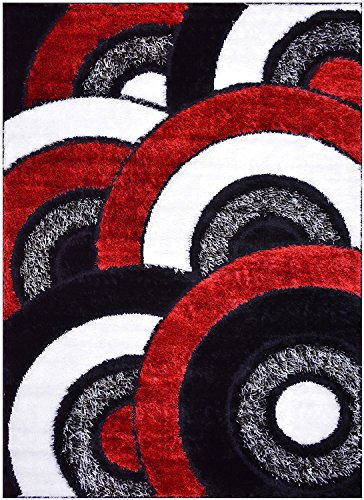 RugStylesOnline Royal Collection Black Red White Abstract Contemporary Design Shaggy Area Rug (6053) (3