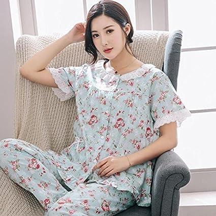 WXIN Pijama De Verano Mujer De Algodón / Algodón / Pantalón De Manga Corta / Traje