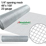 1/4 Inch Welded Hardware Cloth Galvanized 48x100 23gauge Cage Wire Fence Mesh Roll Garden Plant Supports Poultry Netting Square Chicken Wire Snake Fencing Gopher Fence Racoons Rabbit Pen Gutter Guard