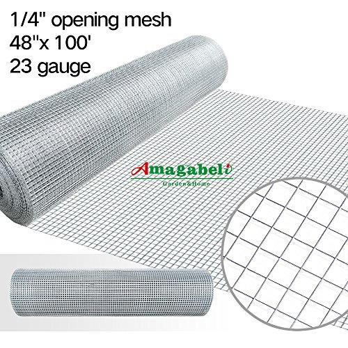1/4 Inch Welded Hardware Cloth Galvanized 48x100 23gauge Cage Wire Fence Mesh Roll Garden Plant Supports Poultry Netting Square Chicken Wire Snake Fencing Gopher Fence Racoons Rabbit Pen Gutter Guard by Amagabeli