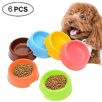 AOLVO - 6 Cuencos de plástico para Mascotas para Perros y Gatos pequeños, sin BPA