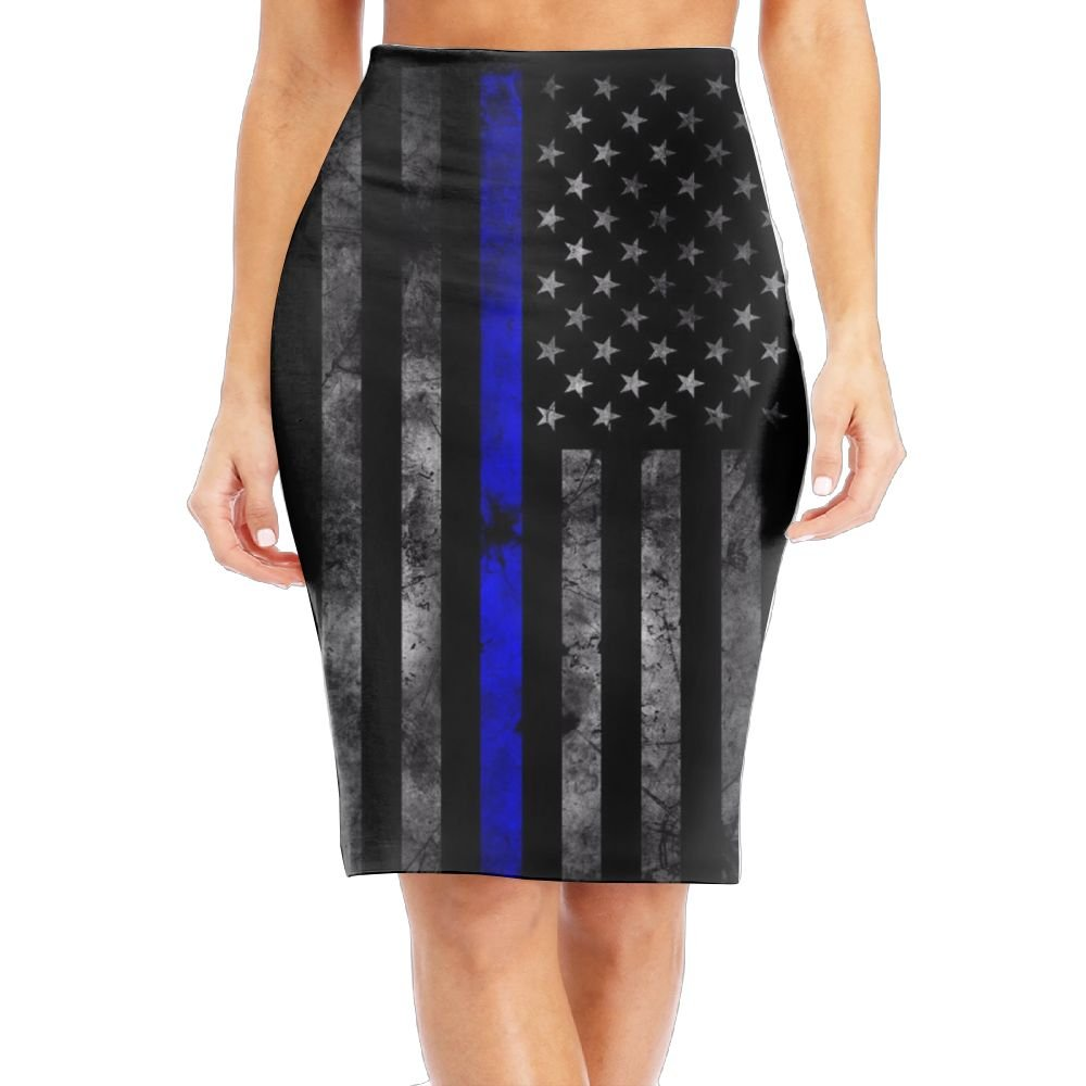 WANING MOON Women's Fine Blue Line American Flag High Waist Slim Skirt Office Pencil Dress for Women Length