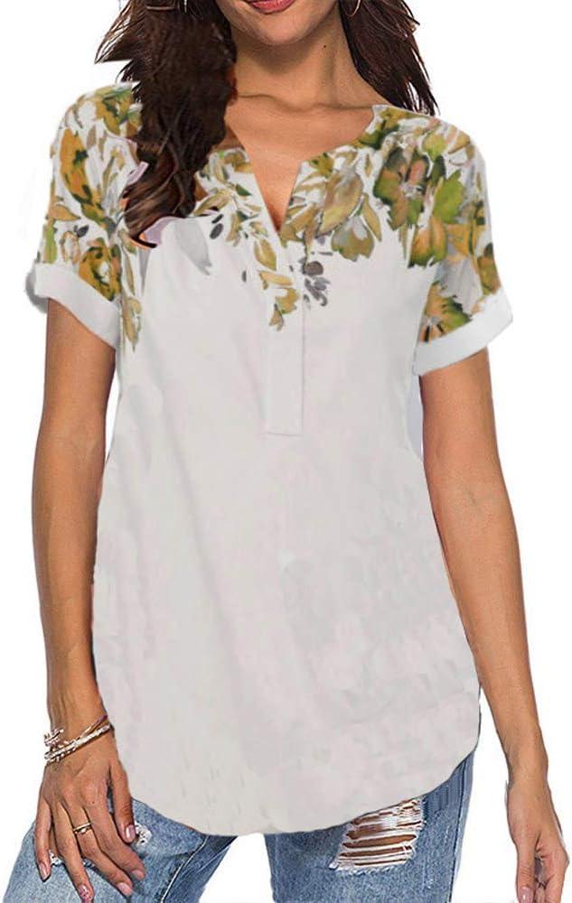 Primavera Verano Nuevas Camisas De Mujer para Mujer con Estampado Rosa Camiseta De Manga Corta Mujer: Amazon.es: Ropa y accesorios
