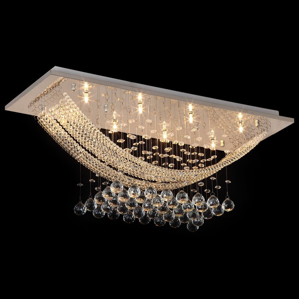 Modern Crystal Chandeliers Contemporary Bridge Wave Crystal Flush Mount Light with 8 Lights Ceiling Light Fixture Contemporary for Study Room, Dining Room, Bedroom, Living Room etc.