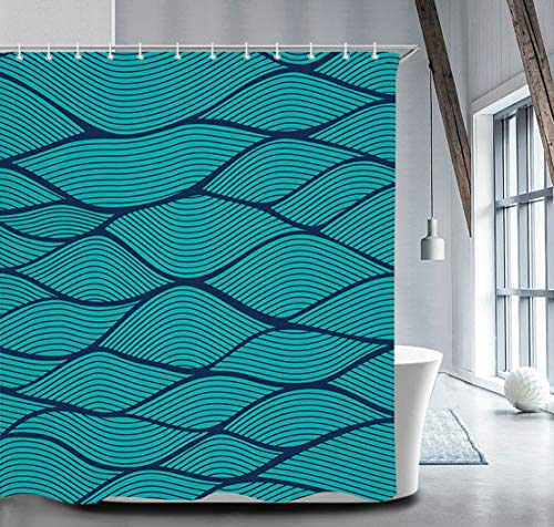 (Livilan Abstract Geometric Wave Line Shower Curtain Set 72