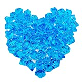 Bestgle 100Pcs 8.5OZ Fish Bowl Decoration Stones Ornament Glass Beads Acrylic Crystals Gems Ice Rocks for Table Scatter, Vase Filler, Event, Wedding, Arts, Crafts & Fish Tank, Blue