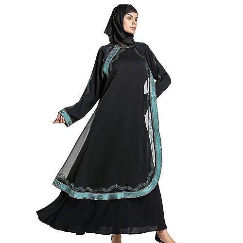 YiLianDa Donna Islamico Robes Manica Lunga Musulmano Abito Abaya Stampa Maxi Vestito
