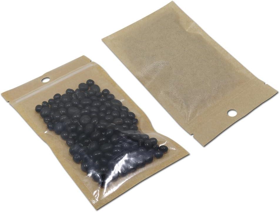 100Pcs Clear Brown Kraft Paper Plastic for Zip Reclosable Bag Lock Flat Heat Sealable Smell Proof Packaging Bags Zipper Lock Bath Salt Tea Coffee Plastic Bags (18x26cm (7.1x10.2 inch))