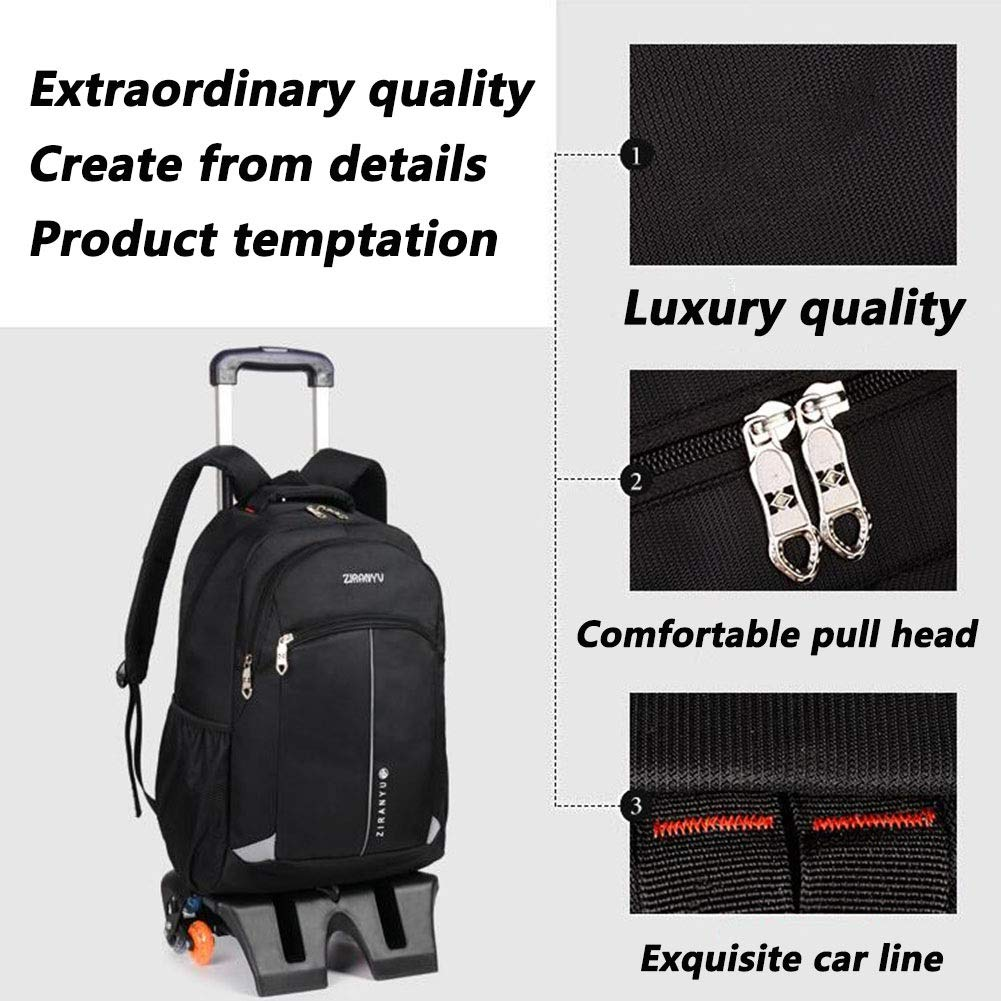 Roller Cases Color : Black, Size : 32x18x49cm Accessories QY Functional Laptop Backpack Wheeled Ultra Lightweight Waterproof Business Travel Wheeled Scroll Trolley Backpack Portable Luggage Compartment British Fan QY