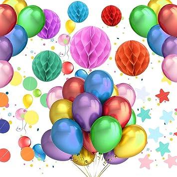 Pushingbest Geburtstagsdeko Party Deko Set Bunte Filz Balloons