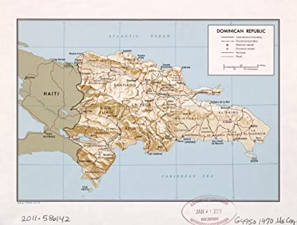 Amazon.com: Vintage 1970 Map of Dominican Republic. Dominican ...