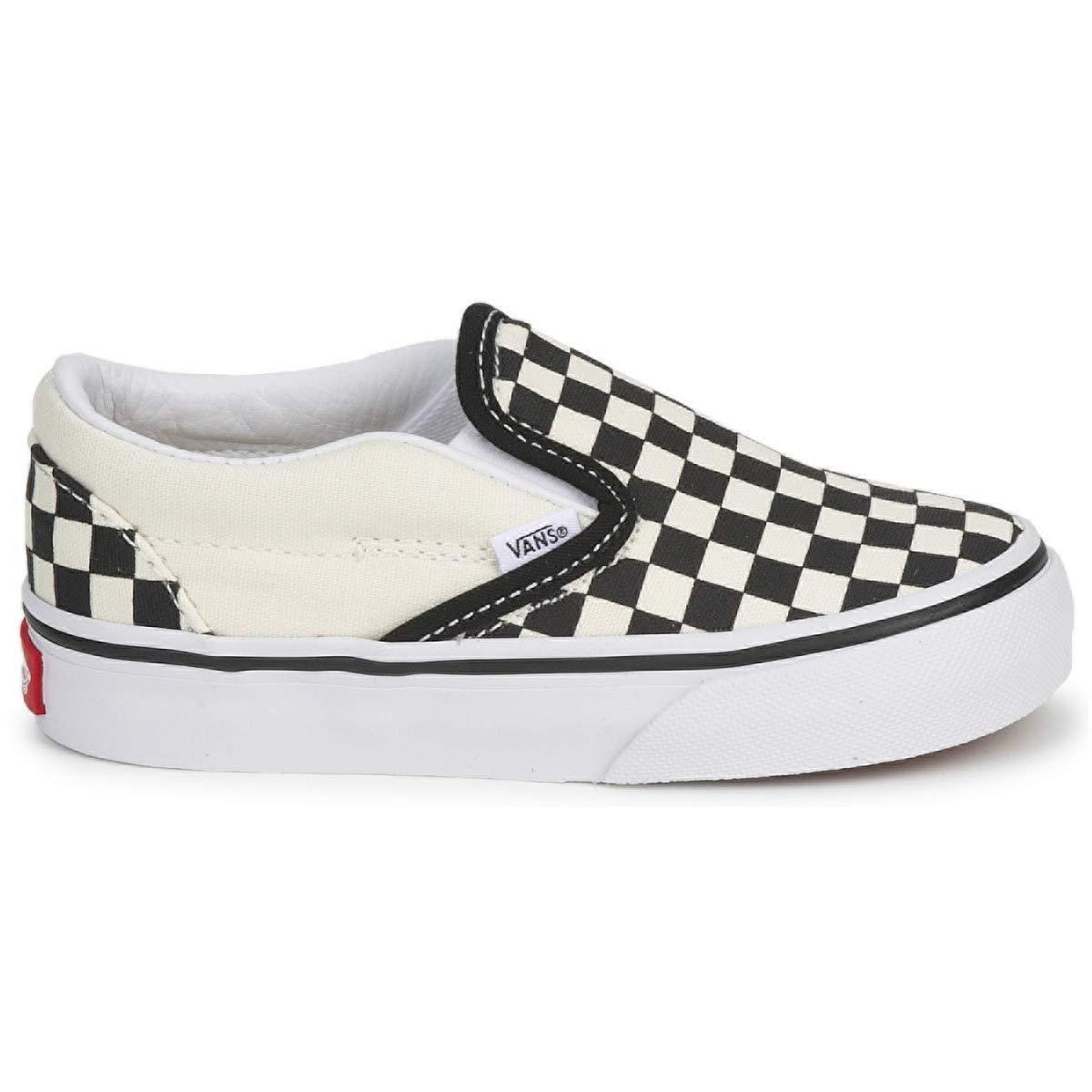 Vans Kids' Classic Slip-ON-K, Black Checkerboard/White, 5 M US Toddler
