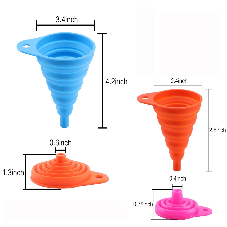 paquete de 5 embudos de cocina flexibles y plegables para botella de agua Juego plegable de silicona transferencia de l/íquido aprobado por la FDA grado alimentario peque/ño y grande