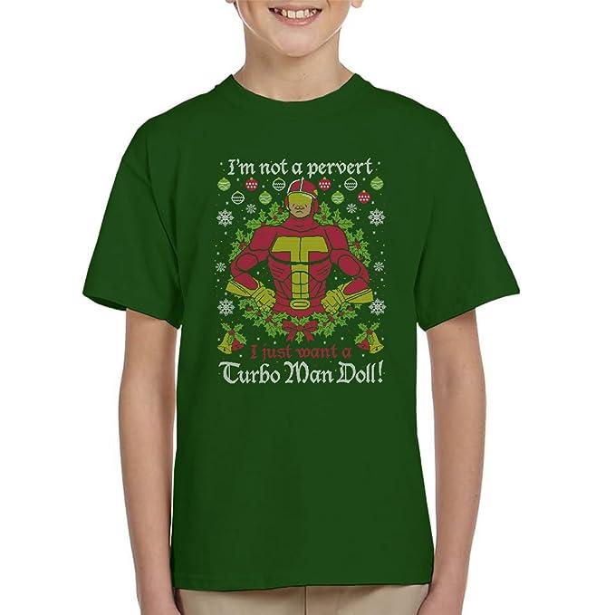 Turbo Man Not A Pervert Jingle All The Way Christmas Knit Pattern Kids T-Shirt
