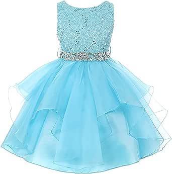 EMERCLY Lace Bodice and Multi Layered Asymmetric Rhinestones Tulle Skirt Girl Dress
