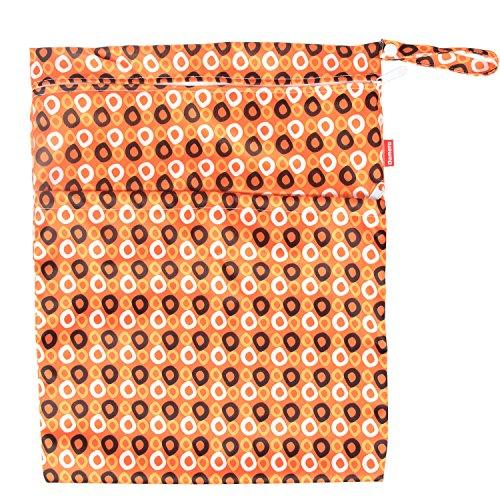Damero 2pcs Paquete del recorrido del bebé seco y húmedo del pañal del paño del bolso del organizador, animales de la historieta naranja puntea