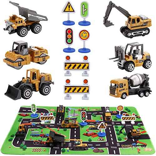 (SunbriloStore Construction Vehicles Truck Toys with Playmat,Vehicles Toy Play Set with a Kid Play Car Rug,Engineering Vehicle Toys with 6 Trucks Construction Site, 6 Traffic Sign ,Road for Kids)