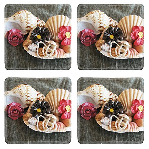 Luxlady Square Coasters IMAGE ID 5338341 Seashell wiht pearl and ceramic flowers