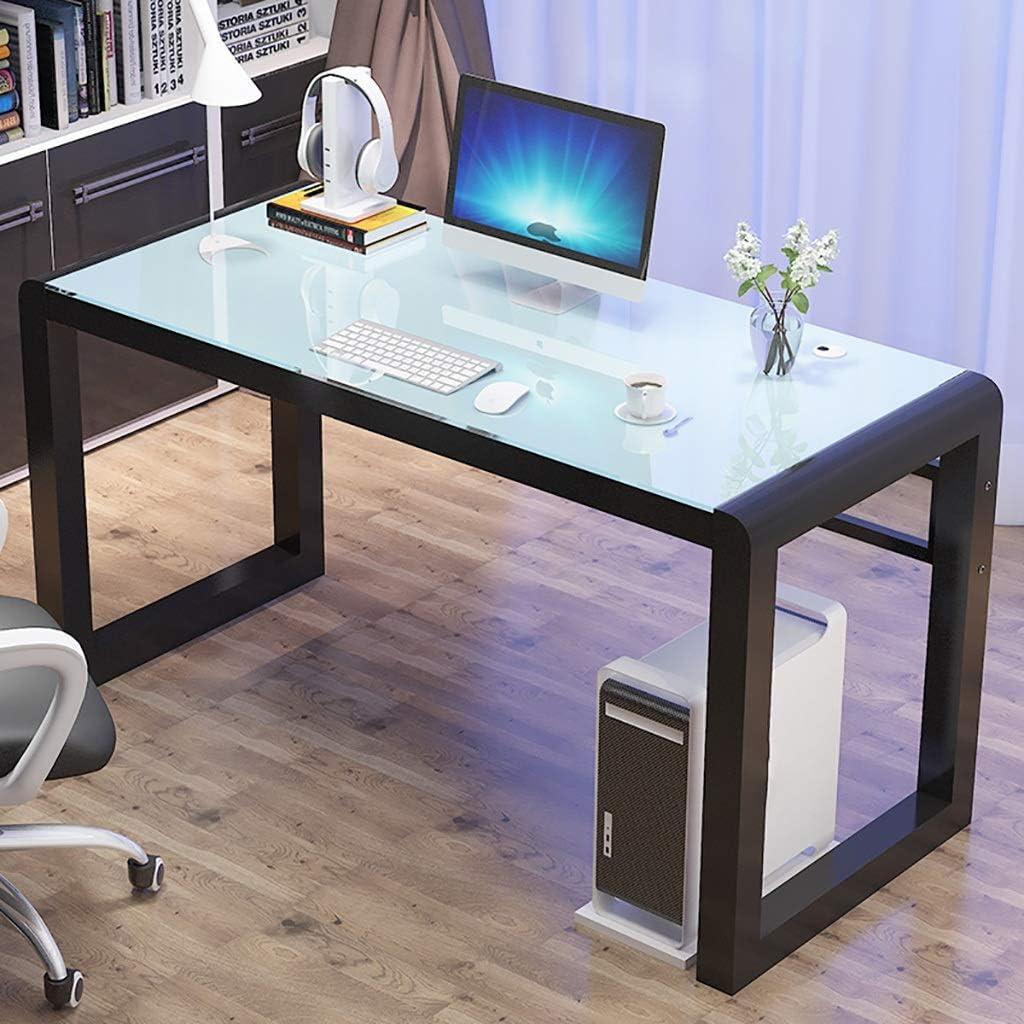 パソコンデスク パソコンデスクホーム、デスク強化ガラスラップトップコンピュータデスクライティングデスク、デスクトップPCのオフィス家庭用メタルフレーム (Color : B, Size : 100x50x75cm)