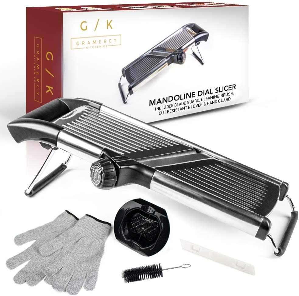 Gramercy Kitchen Co. Adjustable Stainless Steel Mandoline Food Slicer - Comes with One Pair Cut-Resistant Gloves    Vegetable Onion Potato Chip French Fry Julienne Slicer