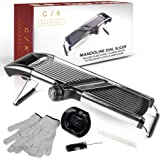 Gramercy Kitchen Co. Adjustable Stainless Steel Mandoline Food Slicer - Comes with One Pair Cut-Resistant Gloves || Vegetable Onion Potato Chip French Fry Julienne Slicer
