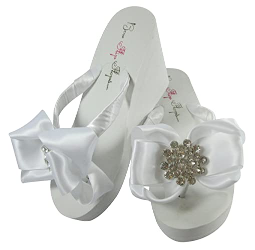 f68c3d48ff86 Amazon.com  High or Low Wedge Wedding Flip Flops with Big Bling in White or  Ivory  Handmade