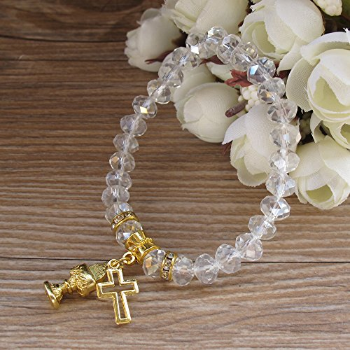 First Holy Communion Party Favor (12 PCS) Stretch Crystal Bracelet with Gold Metal Chalice and Cross Charms/Recuerdos para Primera Comunion Niña Niño/Gift for Guests