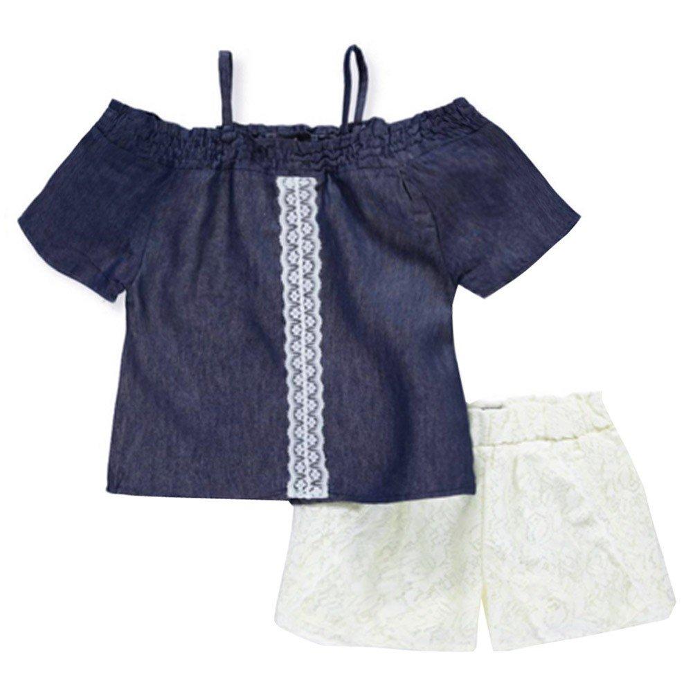 dollhouse Big Girls Dark Blue Denim Off-Shoulder Top 2 Pc Shorts Set 7-16 ALLURA