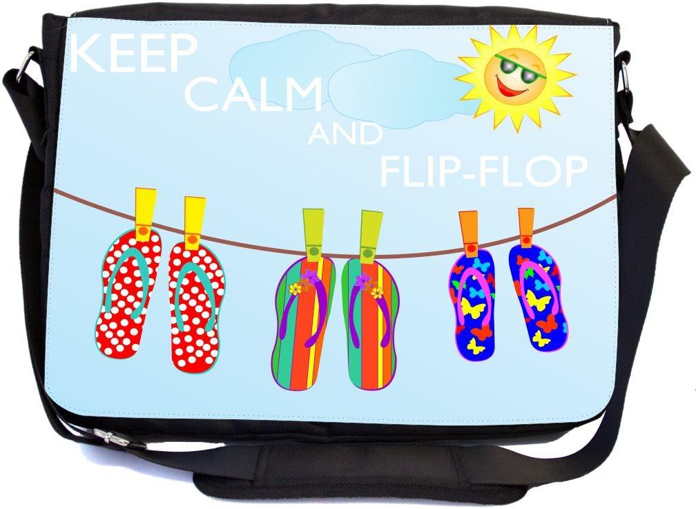 ee58f0628f6f durable service Rikki Knight Keep Calm and Flip-Flop Design Multifunctional Messenger  Bag - School