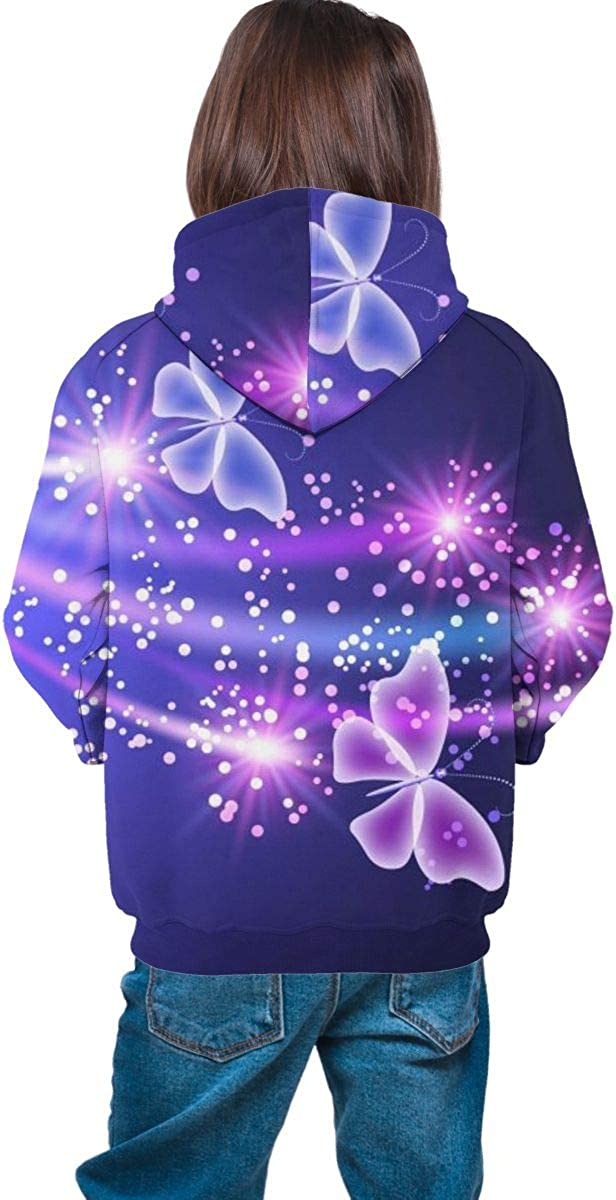 Teen Pullover Hoodies with Pocket Flying Butterfly Soft Fleece Hooded Sweatshirt for Youth Teens Kids Boys Girls