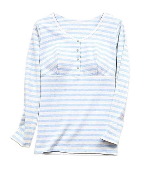 a4264b8fc0520 Femmes Maternité T Shirt Manches Fashion Longues Col Rond Chemise  d'allaitement Stilltop Maternité Chemise