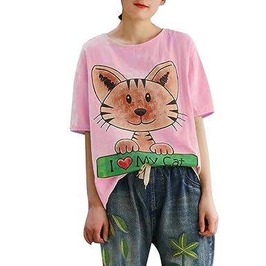 Linkay - Camisa para Mujer de Manga Corta de Verano para Mujer ...