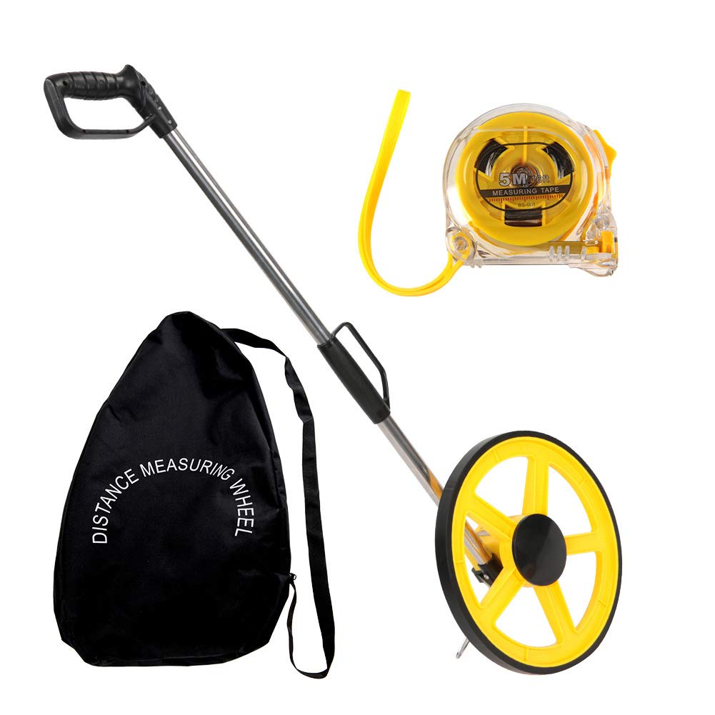 Measuring Wheel, 12.5-Inch Foldable Mechanical Distance Wheel with 5m Steel Measure Tape and Carryon Bag Can Measures up to 9,999 Feet Surveying Tool for Road Land Builders Workers Distance Measurment