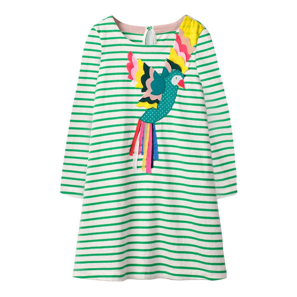 9c784984ef2 Amazon.com  HILEELANG Toddler Girl Dress Stripe Long Sleeve Autumn Winter  Cotton Basic Dress 1-7 Year  Clothing
